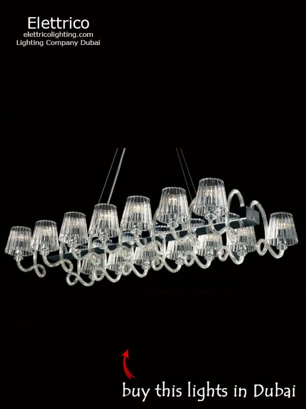 Heracles clear square chandelier for a living room or bedroom to order online in Dubai