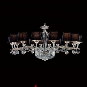Lillium big chandelier for a living room with Black shade to buy online in Dubai