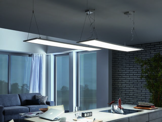 The pendant panel illuminates the space better than a conventional lamp.