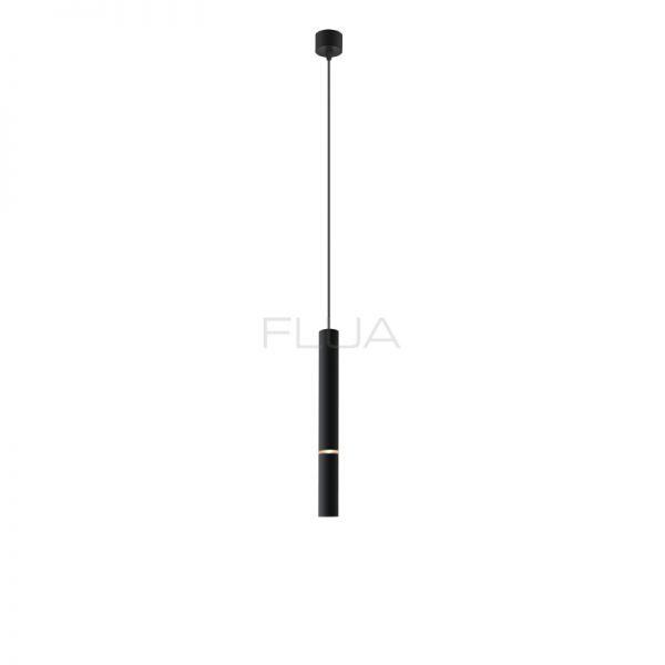 Suspended lamp for a modern interior design, black color.