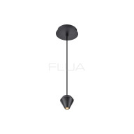 Suspended black chandelier for a minimalist home style.