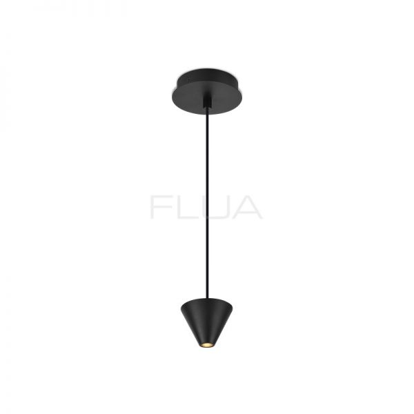A thin, long, suspended black spot lamp for a minimalist Dubai interior.