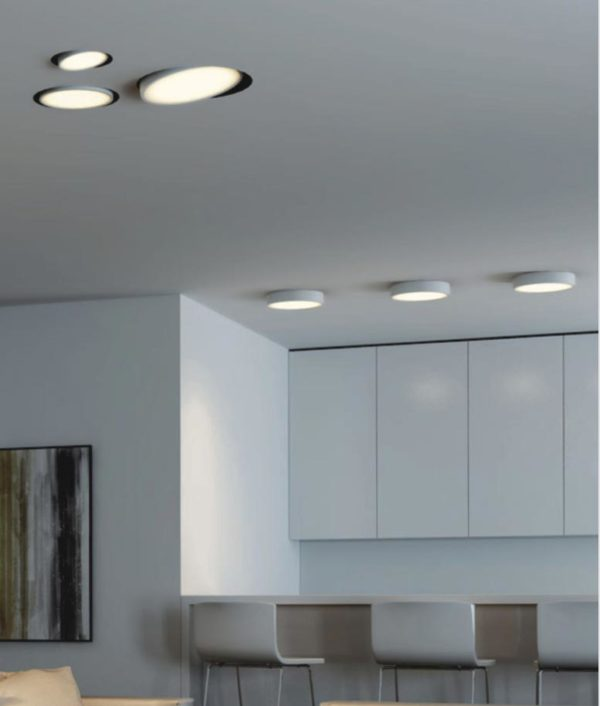Modern interior design with ceiling lamps.