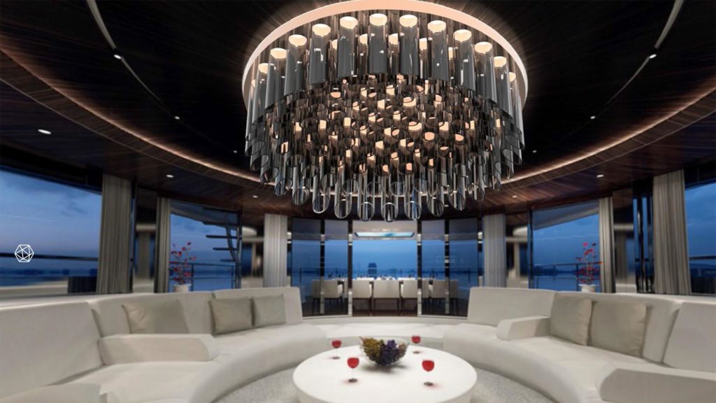 Large custom made ceiling lighting.