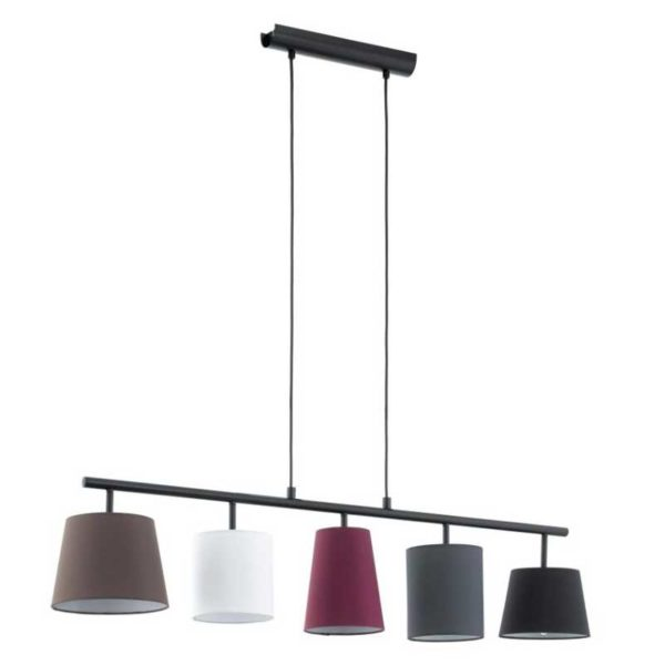 Modern pendant chandelier with 5 different shape shades.