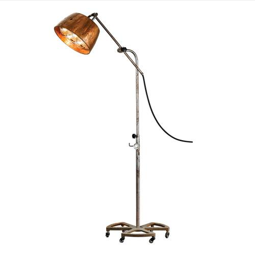 Retro style floor lamp with a brass shade.