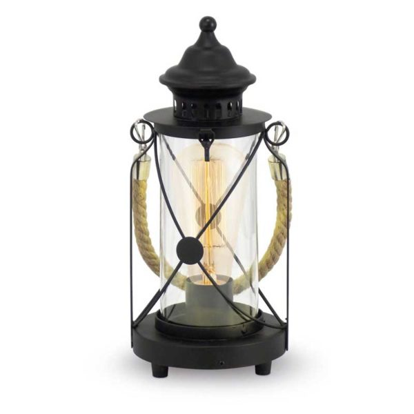 Vintage style table lamp made of black color metal.
