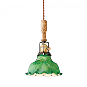 Vintage industrial pendant lighting with decorative wooden and glass elements.