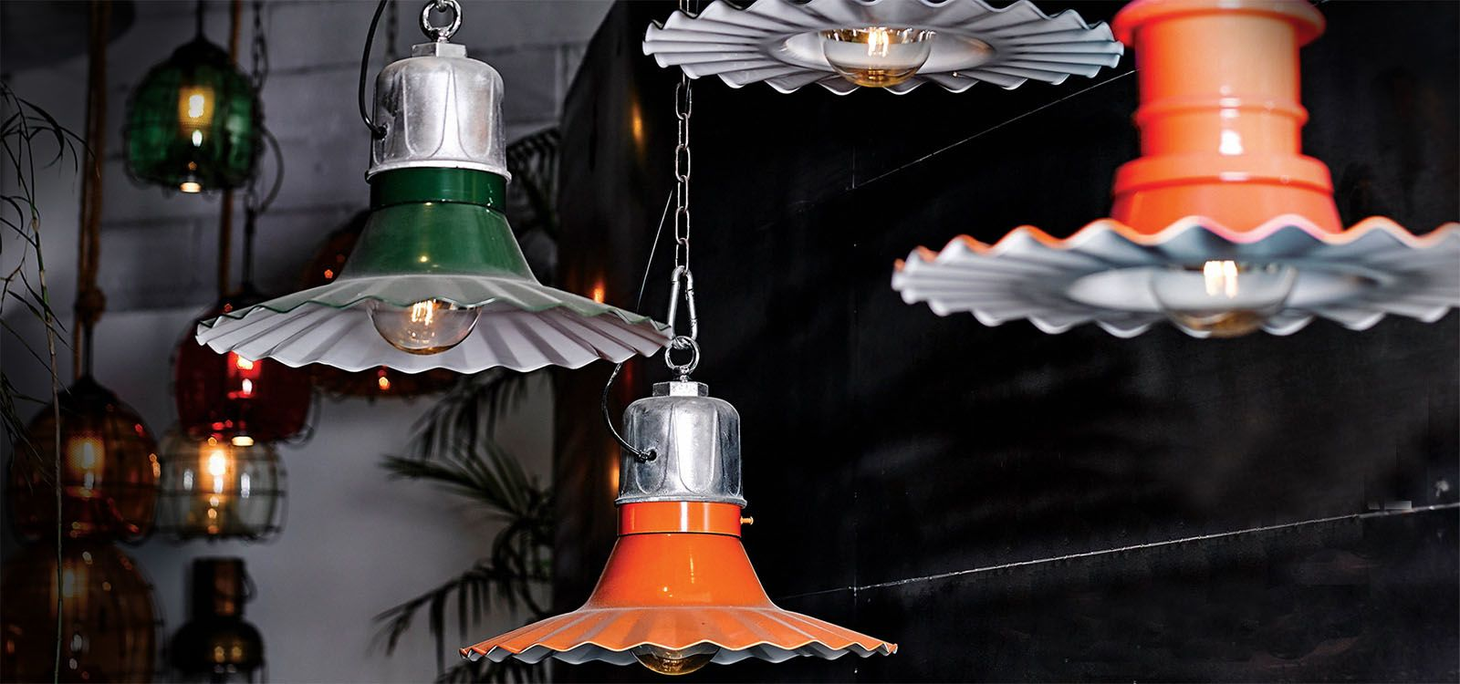 Vintage industrial pendant lamp in Dubai showroom