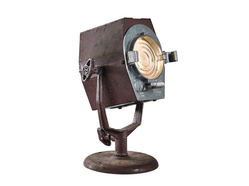 old industrial looking desk lantern made of metal.