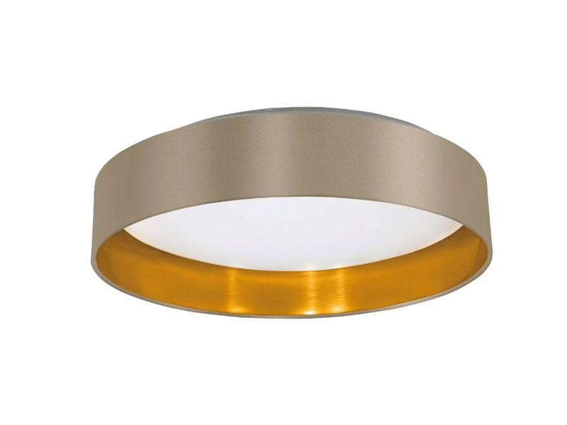 Round large ceiling luminary with luxury golden finishing and beige fabric.