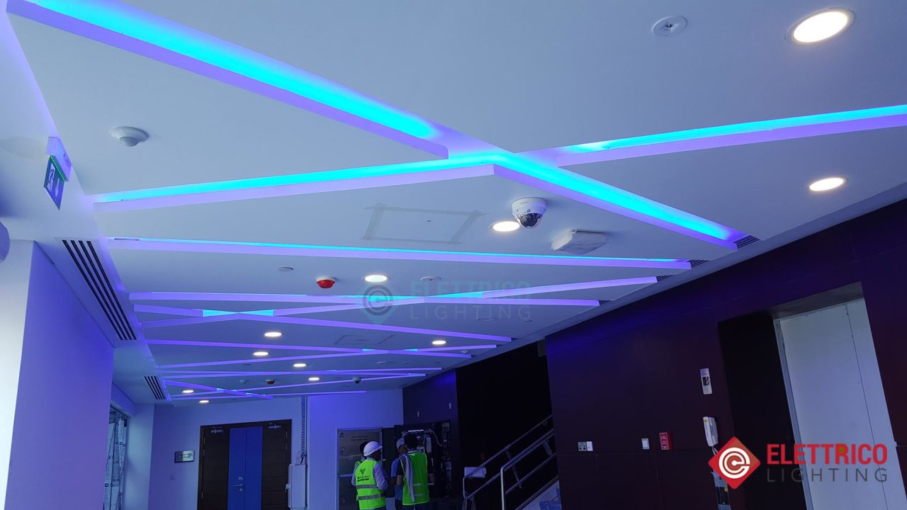 Decorative Light-emitting diode strips of blue color on the ceiling.