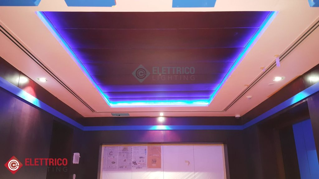 LED ceiling lighting with blue LED strips