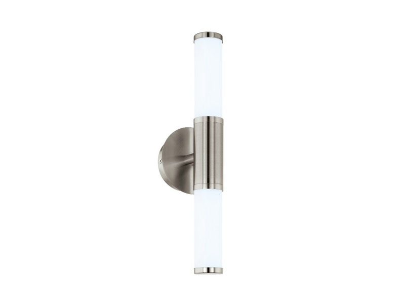 Modern sconce made of metal and glass.