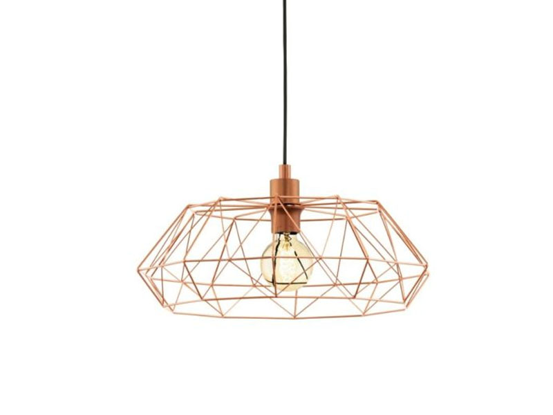 Vintage industrial suspended luminaire looks as metal gold cage