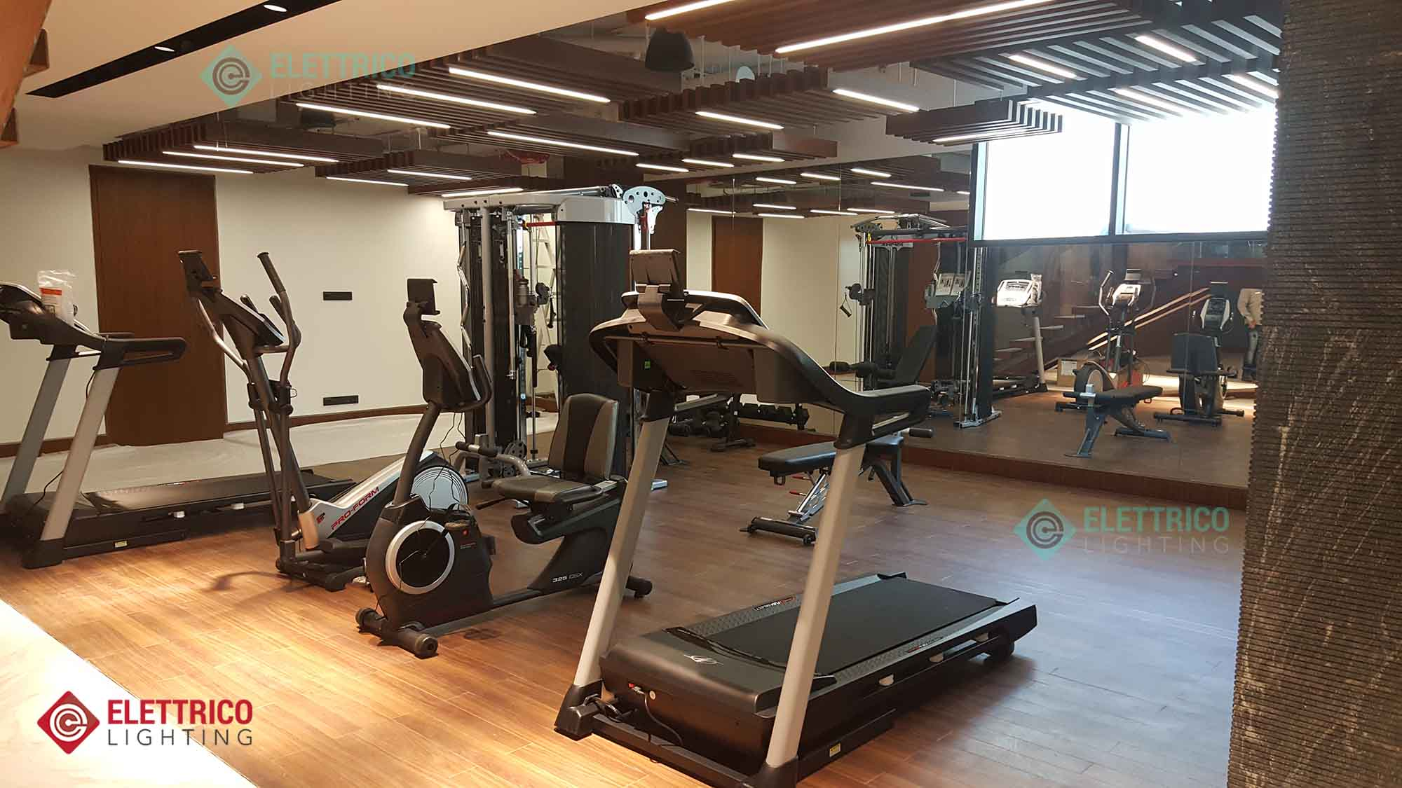 Commercial gym lighting for fitness rooms