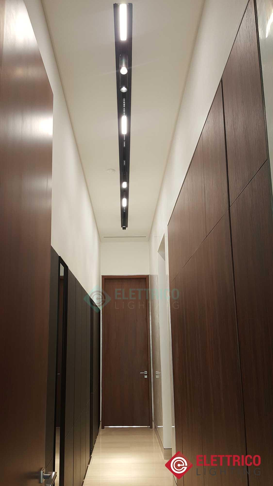 Modern ceiling spotlight track system