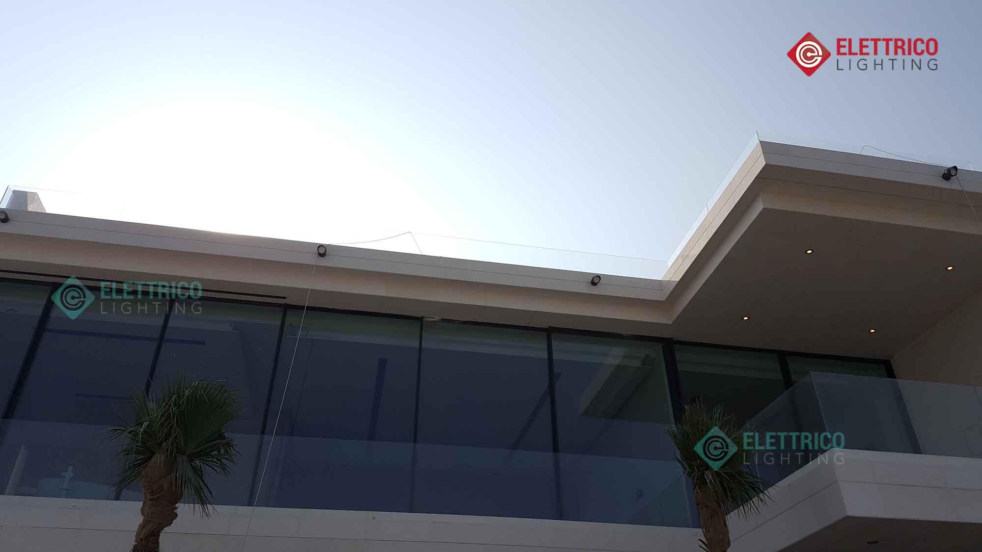 exterior facade lights on a villa in Dubai