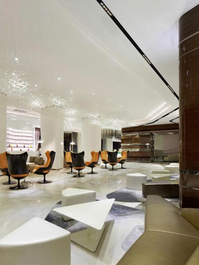 Interior design with a modern illumination installed to the roof.