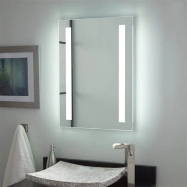 Mirror with inserted lights in the sides