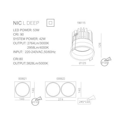 Drawings of Nic Deep spotlight with installation info.