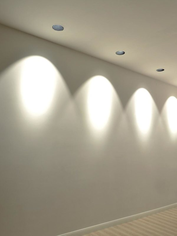 Inpressive lighting shade on the wall made by spotlights