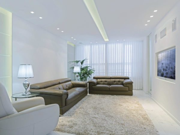 Interior design of living room with beautiful spotlights.