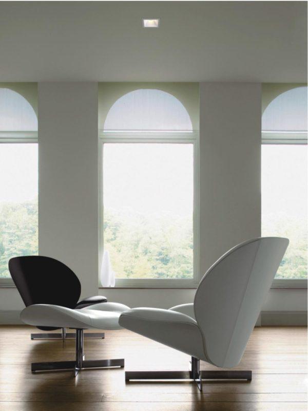 Interior design with trimless spotlight.