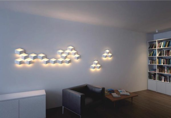 Interior design with wall lights.