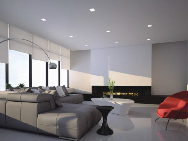 Modern living room with square spotlights on the ceiling