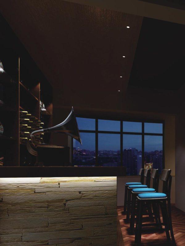 Restaurant bar interior design with trimless spotlights