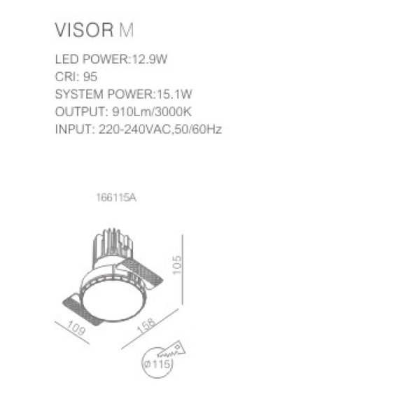 Trimless spotlight technical data sheet of the product