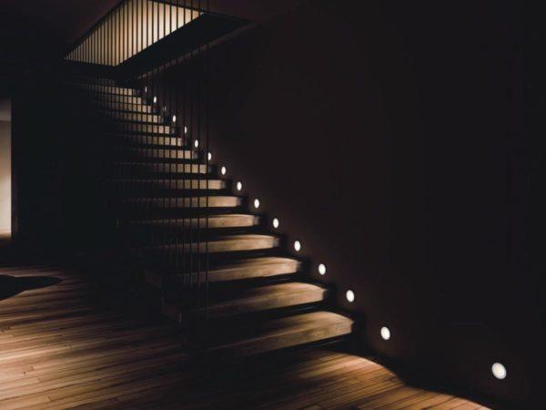 beautiful Staircase spotlights.