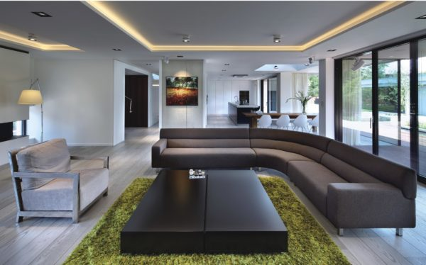 beautiful modern dowlights in an interior of a living room