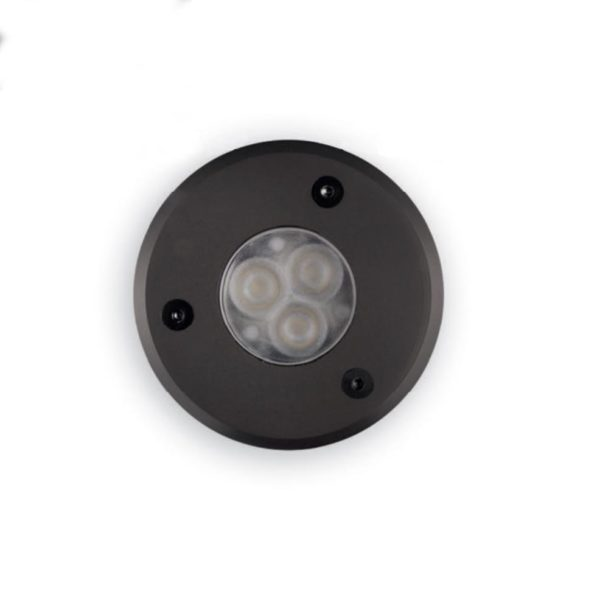 Dark color outdoor spotlight for floor installation.