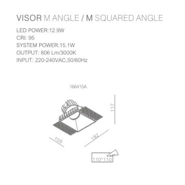 square trimless spotlight technical data sheet 166415.