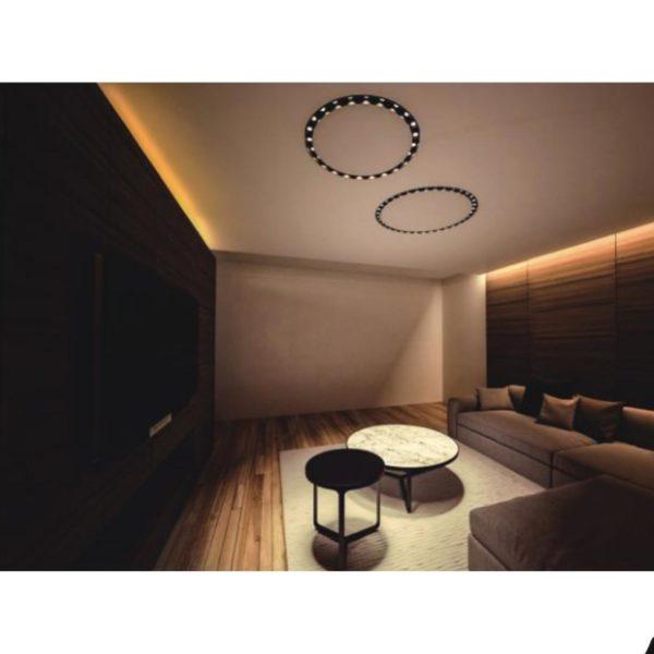 Built in lighting fixture in a living room.