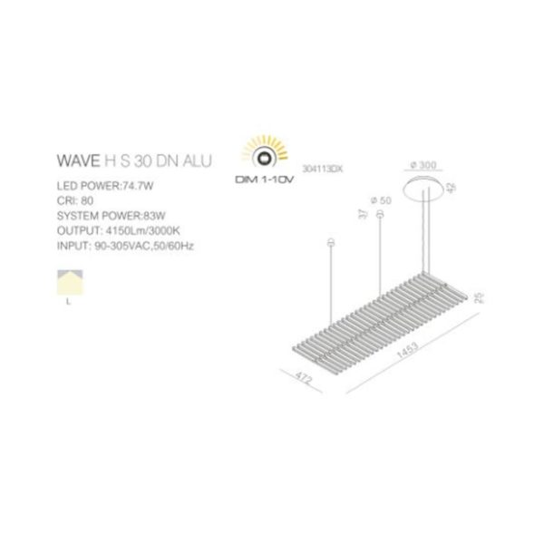 Technical data sheet with dimension of the chandelier.