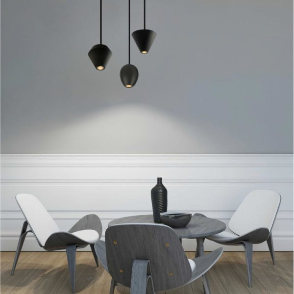 Interior desing with 3 modern pendant lights