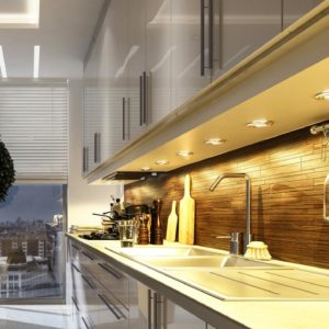 Kitchen Interior design with spotlights