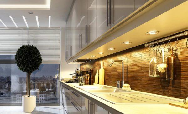 Kitchen Interior design with spotlights