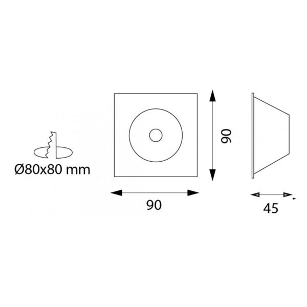 LaLuce Aros square 9003 drawings with dimensions