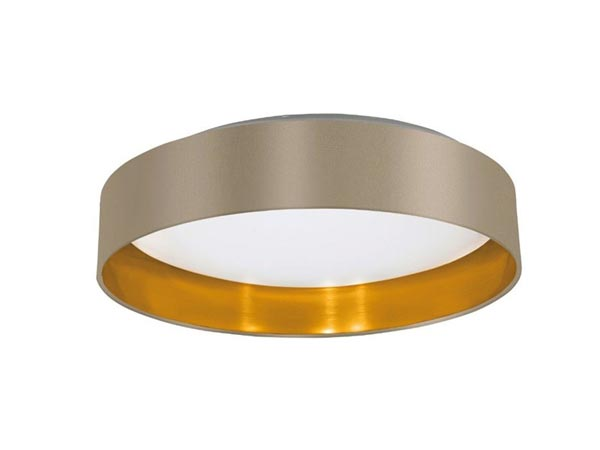 Round ceiling lighting with fabric shade of luxury beige gold shades