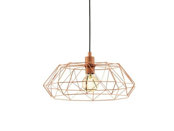 Vintage industrial suspended luminaire looks as a metal gold cage
