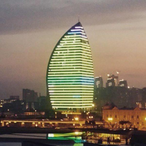Illuminated building facade