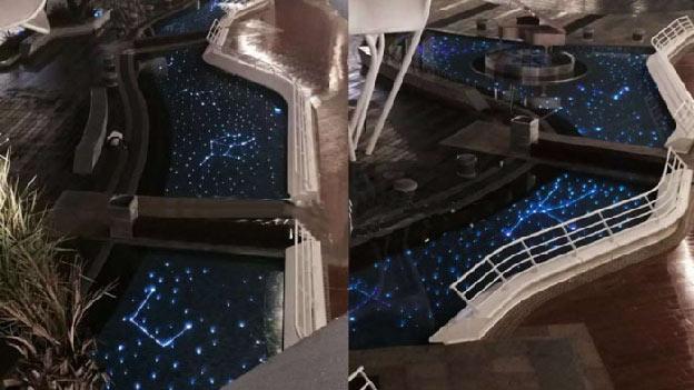 Fiber optic swimming pool design
