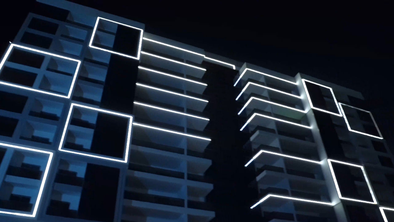 Facade lighing for a residential building