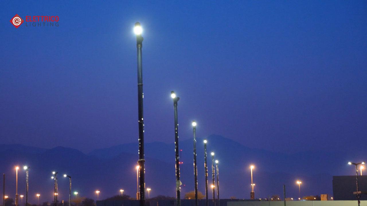 Street pole lighting on Dubai roads